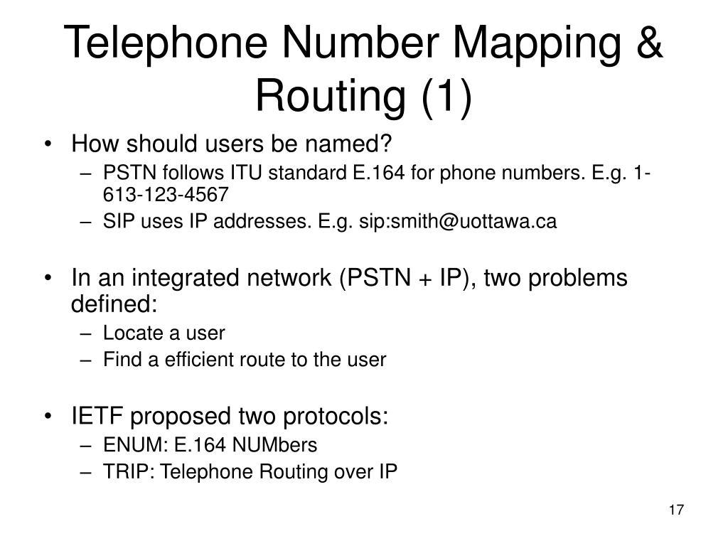 Telephone Number Mapping & Routing (1)