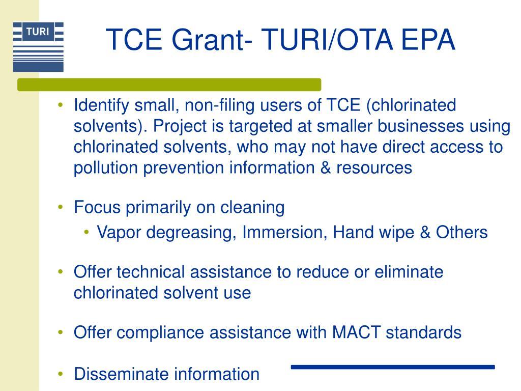 TCE Grant- TURI/OTA EPA