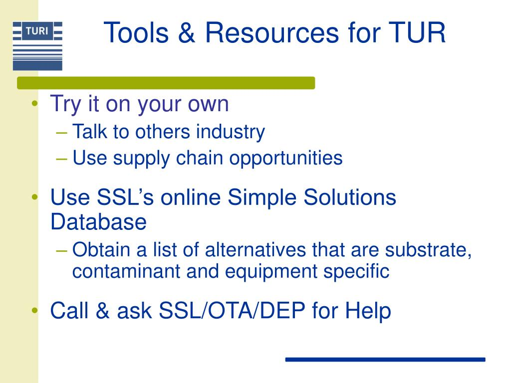 Tools & Resources for TUR