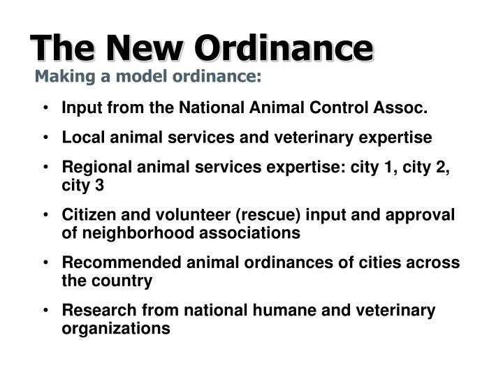 The new ordinance