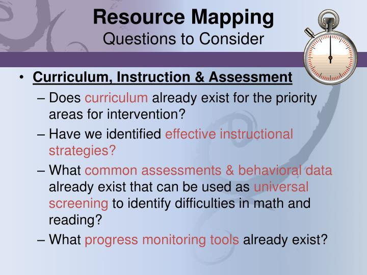 Resource mapping questions to consider
