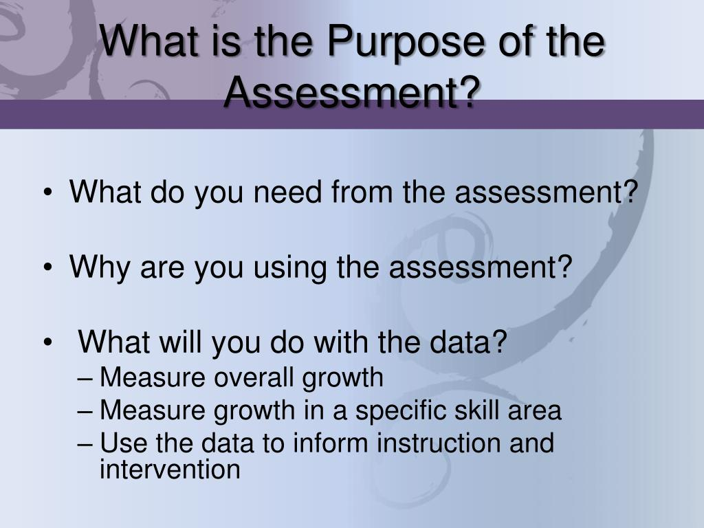 What is the Purpose of the Assessment?