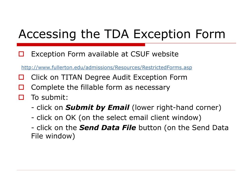 Accessing the TDA Exception Form