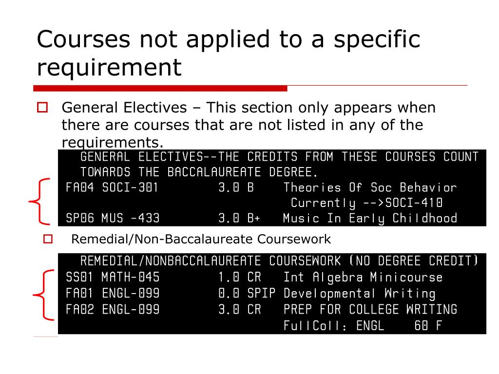 Courses not applied to a specific requirement