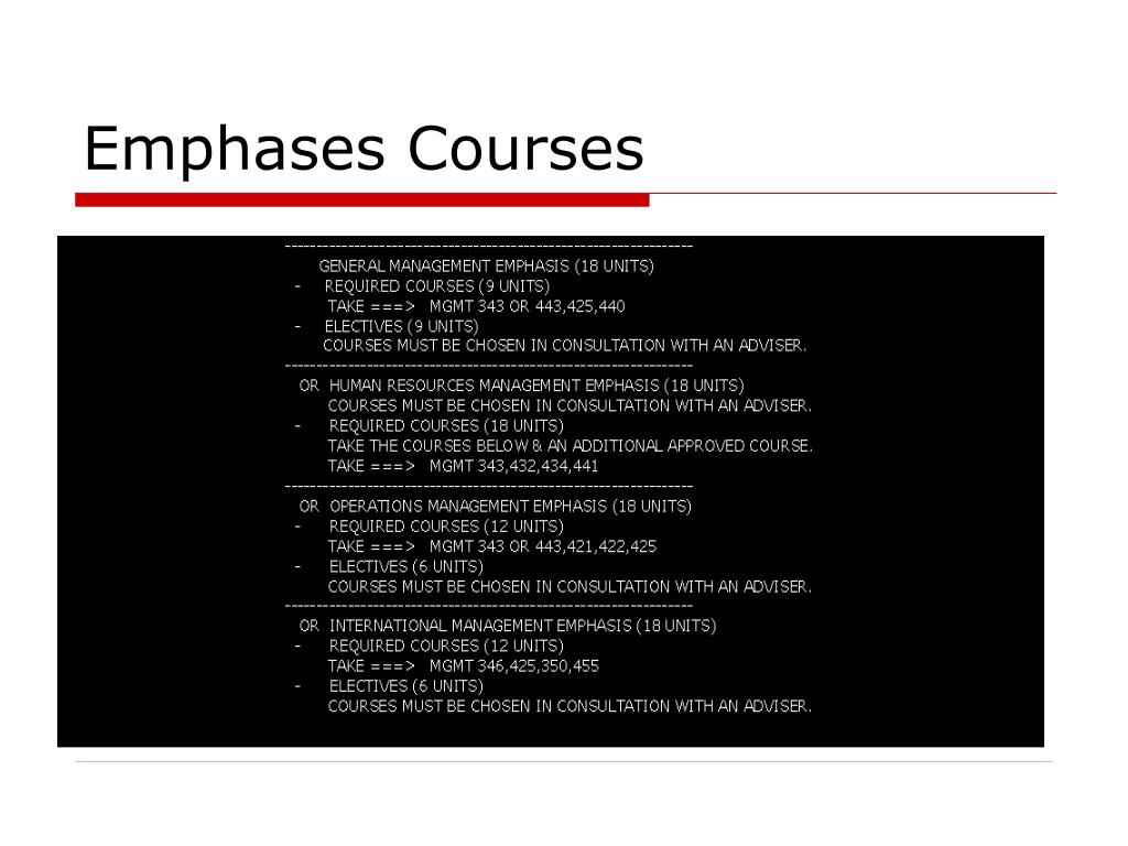 Emphases Courses