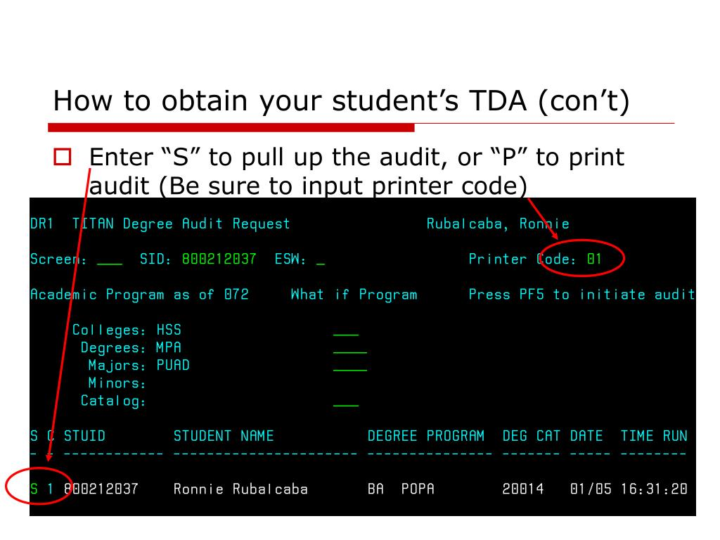 How to obtain your student's TDA (con't)