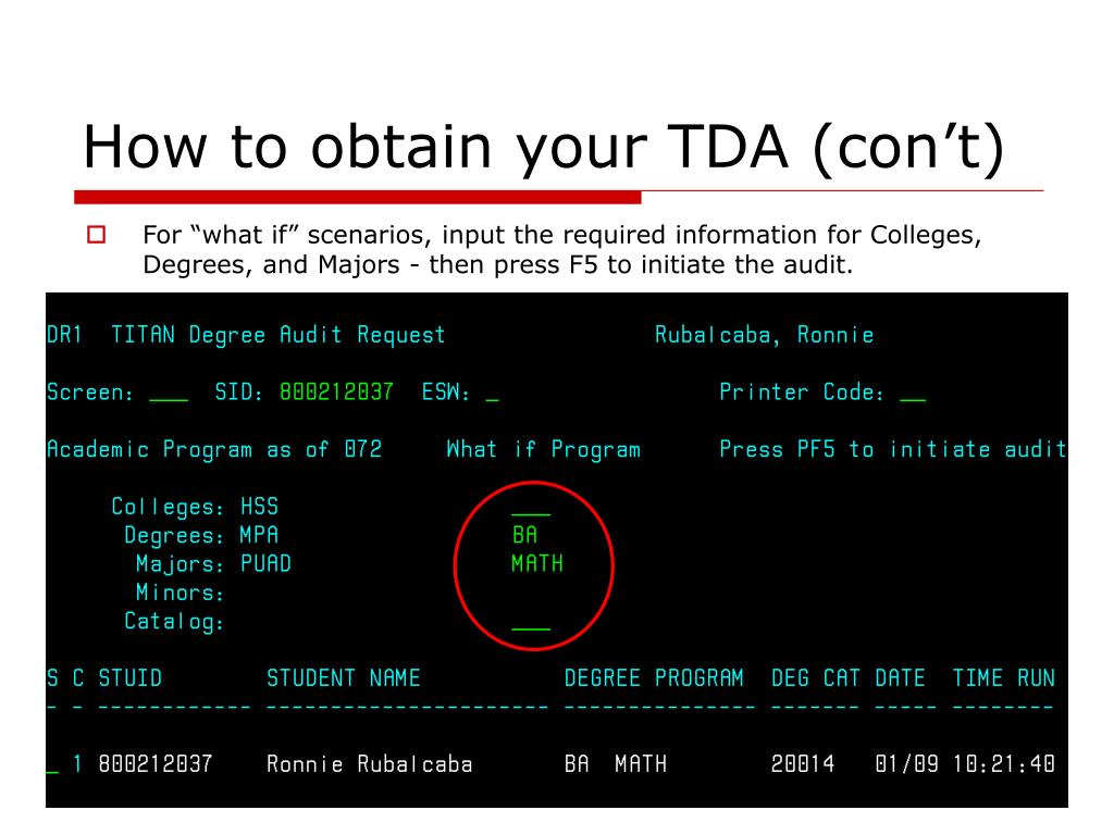 How to obtain your TDA (con't)