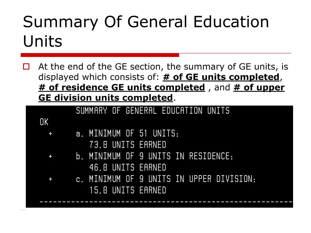Summary Of General Education Units