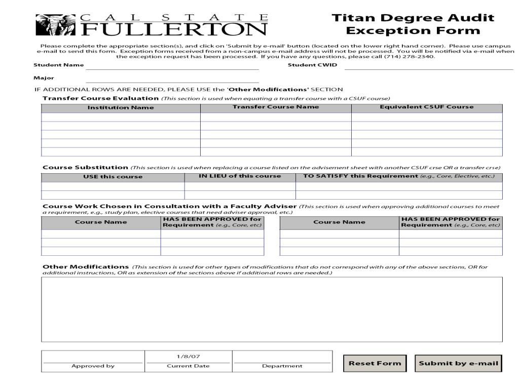 TDA Exception Form