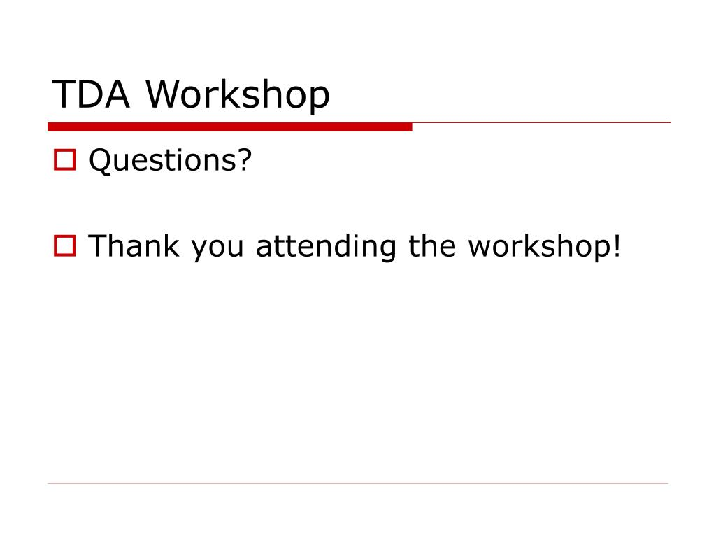 TDA Workshop