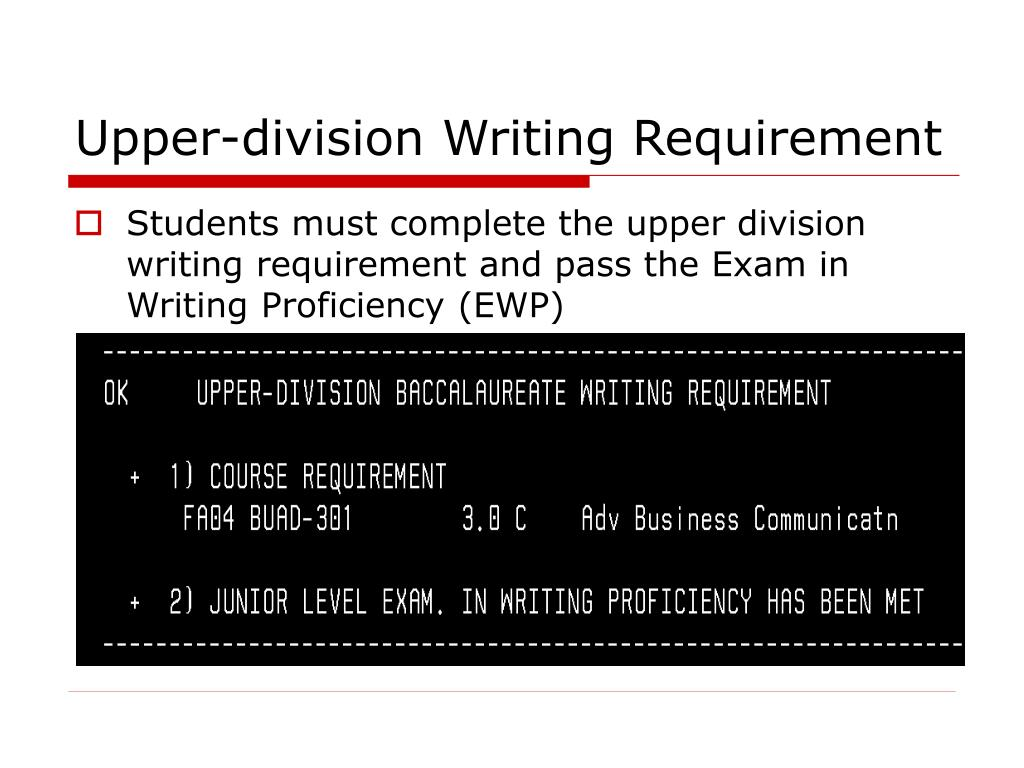 Upper-division Writing Requirement