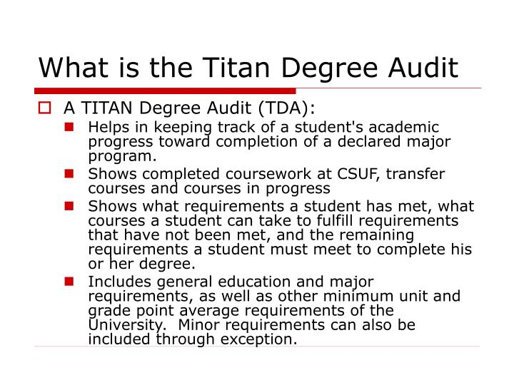 What is the titan degree audit