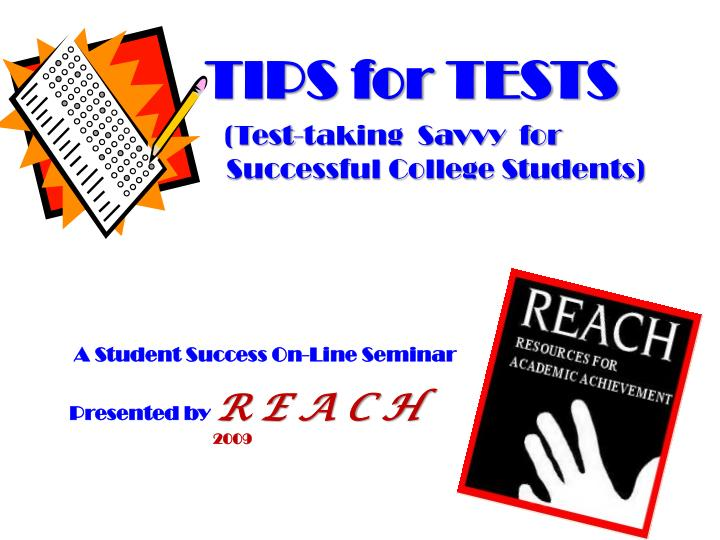 A student success on line seminar presented by r e a c h 2009