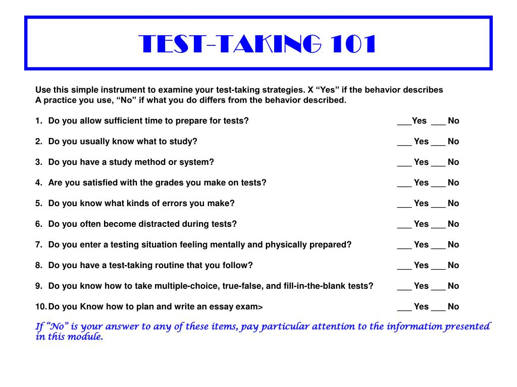 TEST-TAKING 101