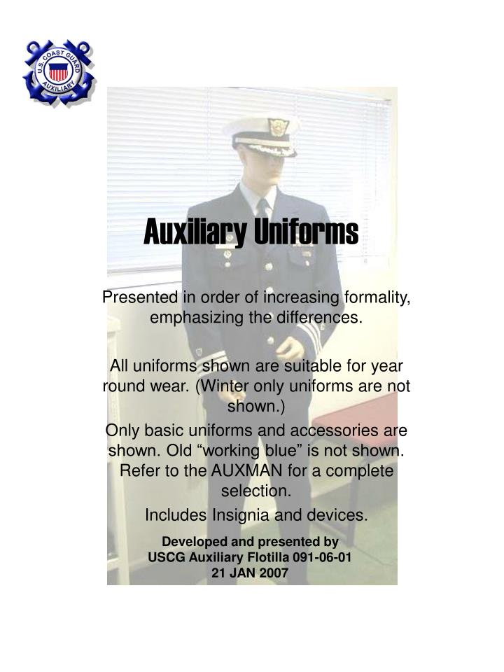 auxiliary uniforms n.
