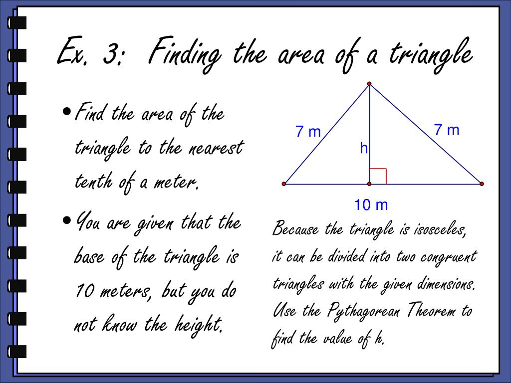 Find the area of the triangle to the nearest tenth of a meter.