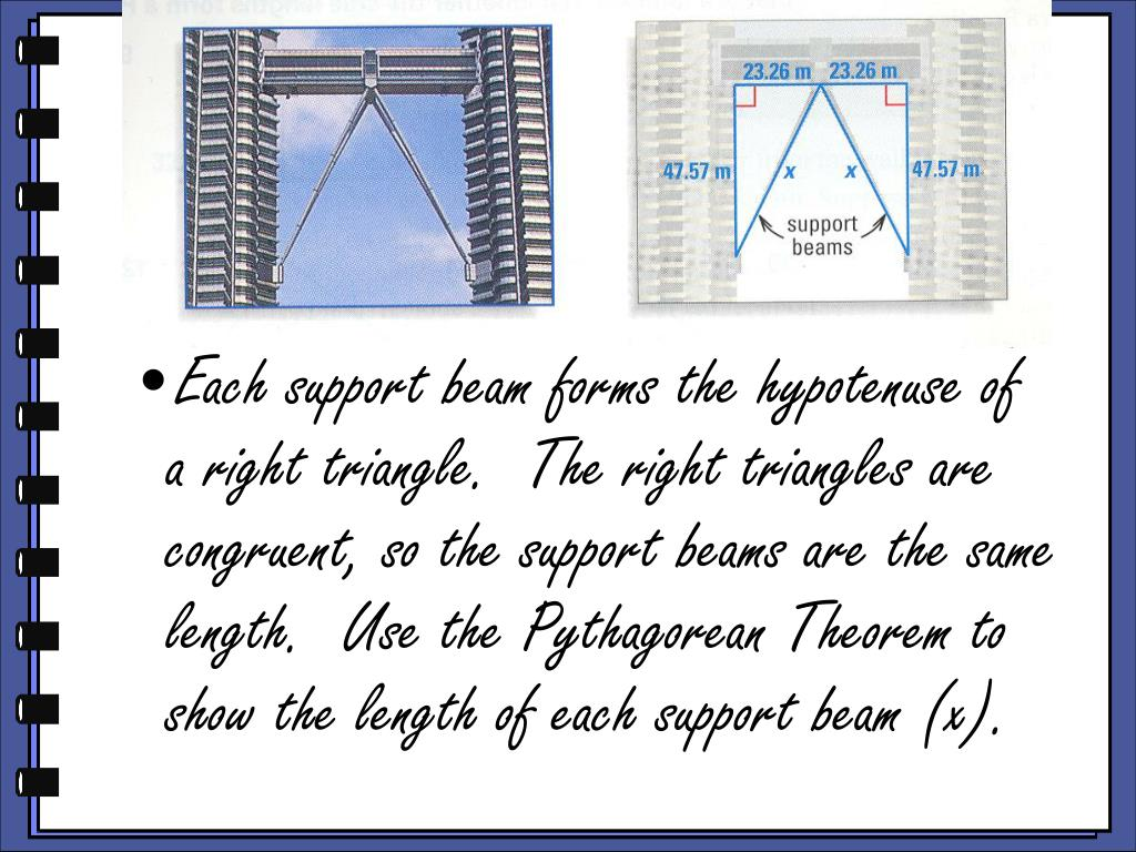 Each support beam forms the hypotenuse of a right triangle.  The right triangles are congruent, so the support beams are the same length.  Use the Pythagorean Theorem to show the length of each support beam (x).