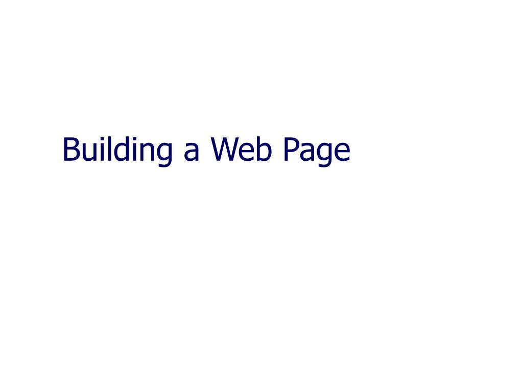 building a web page l.