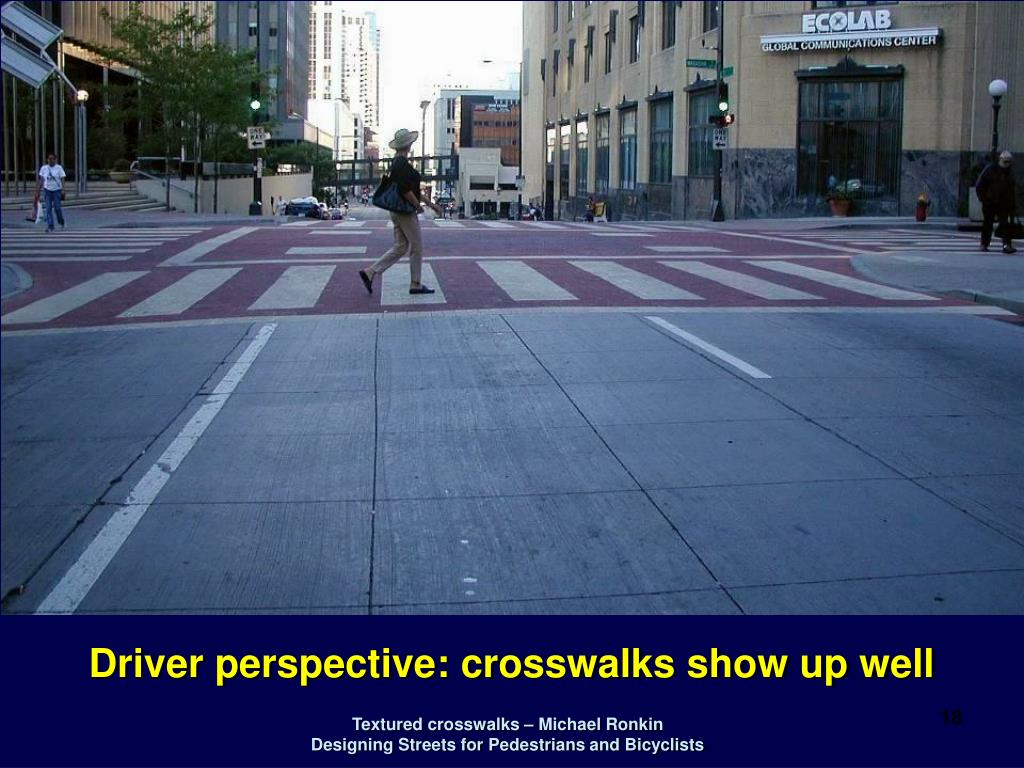 Driver perspective: crosswalks show up well