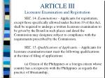 article iii licensure examination and registration