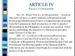 article iv practice of librarianship