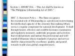 section 1 short title this act shall be known as the philippine librarianship act of 2003