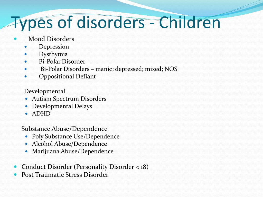 Types of disorders - Children