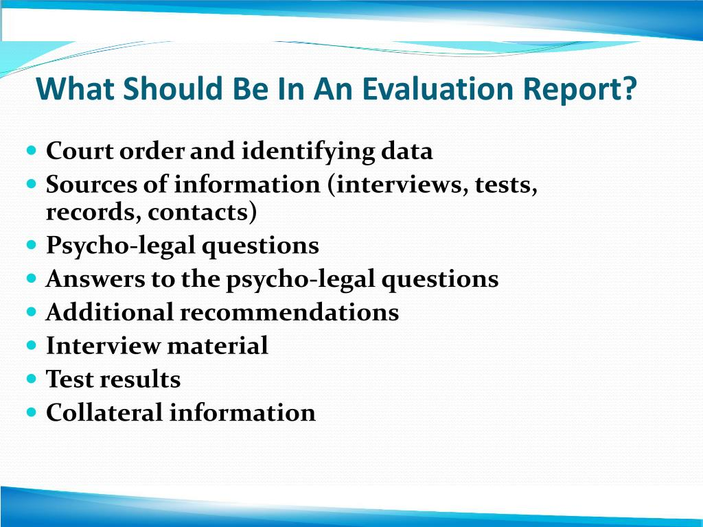 What Should Be In An Evaluation Report?