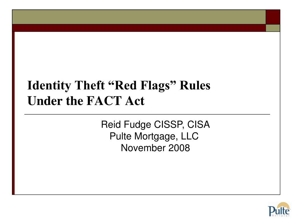 identity theft red flags rules under the fact act l.