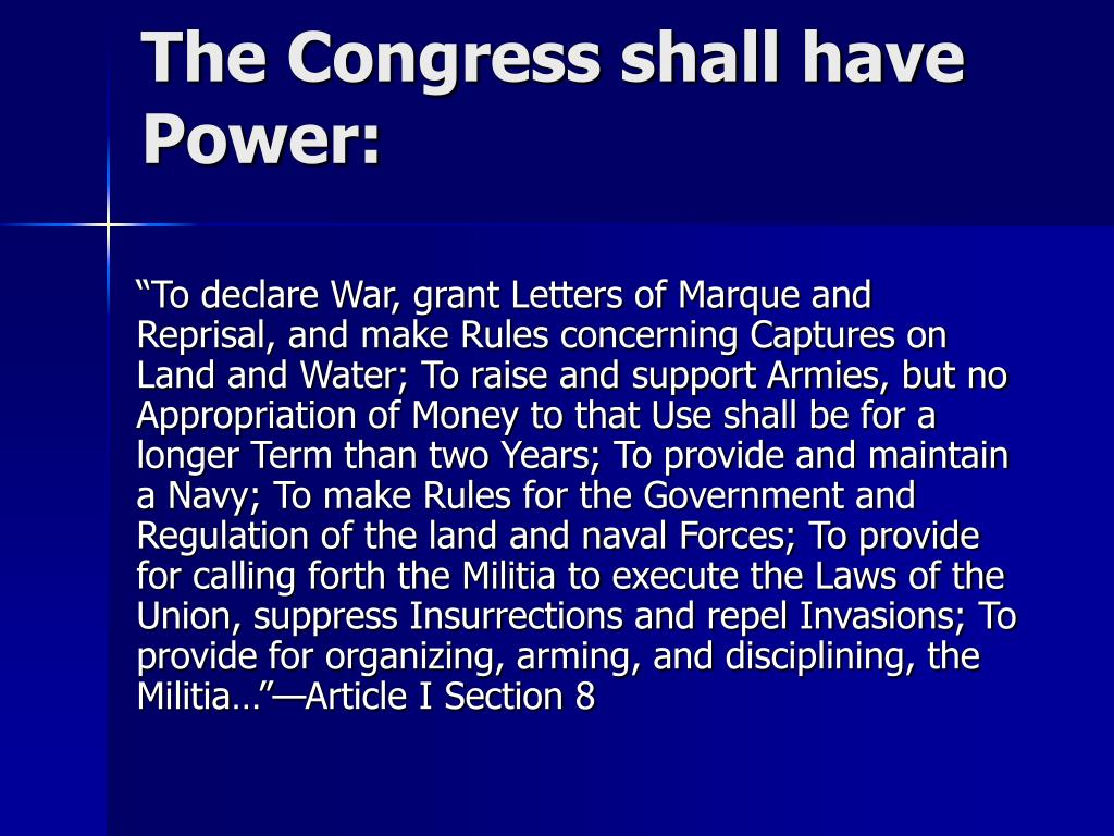 The Congress shall have Power:
