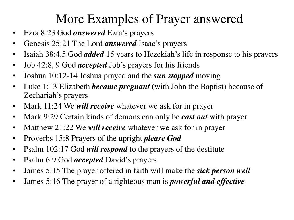 More Examples of Prayer answered