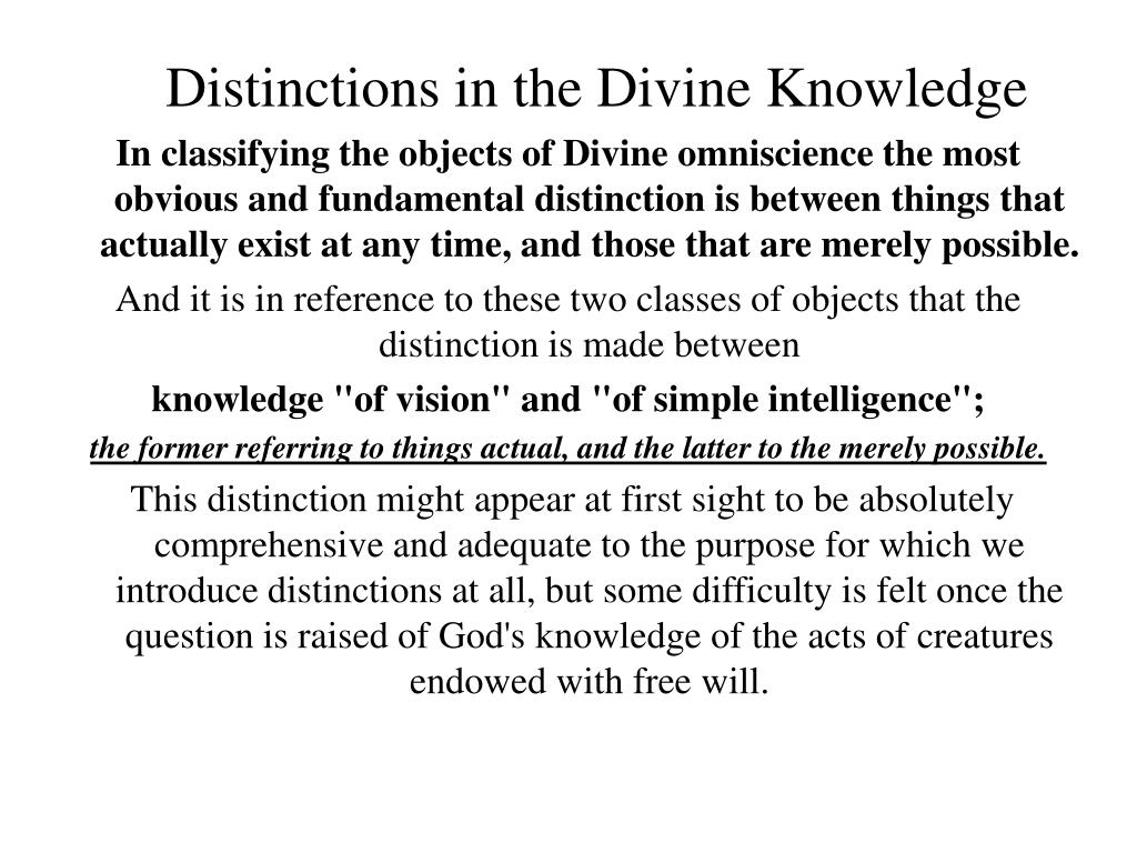 Distinctions in the Divine Knowledge