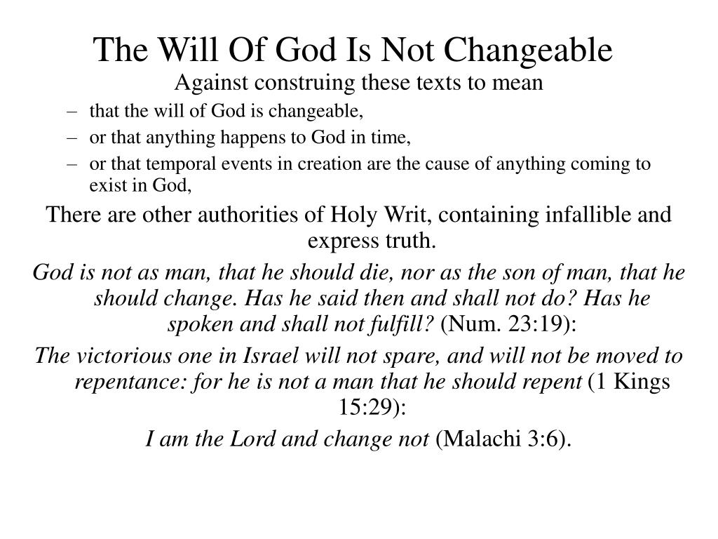 The Will Of God Is Not Changeable