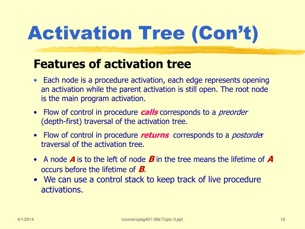 Activation Tree (Con't)