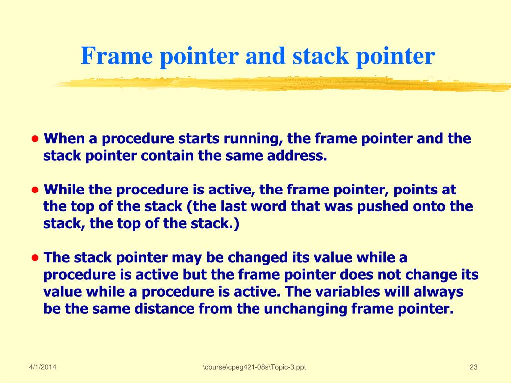 Frame pointer and stack pointer