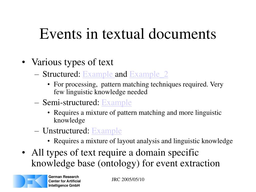 Events in textual documents