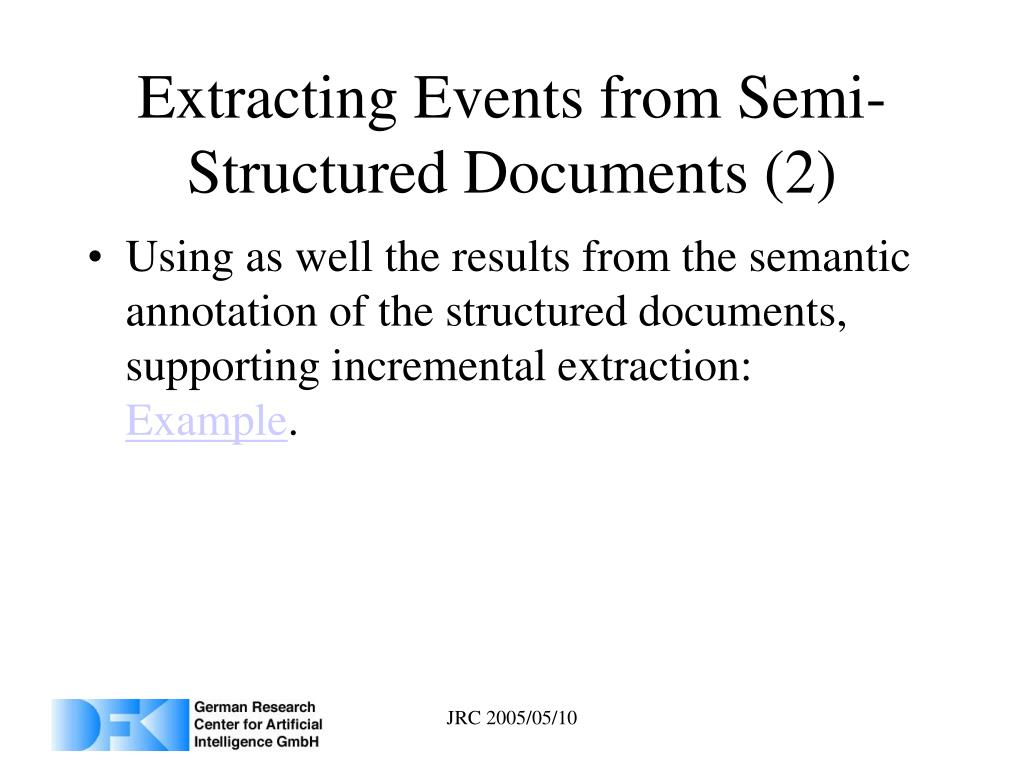 Extracting Events from Semi-Structured Documents (2)