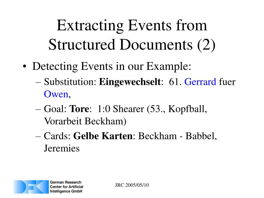 Extracting Events from Structured Documents (2)