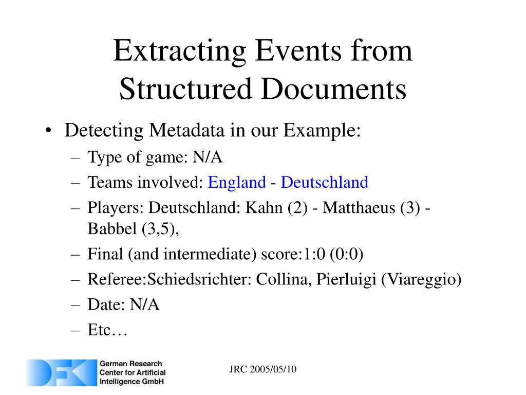 Extracting Events from Structured Documents