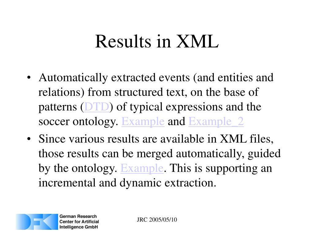 Results in XML