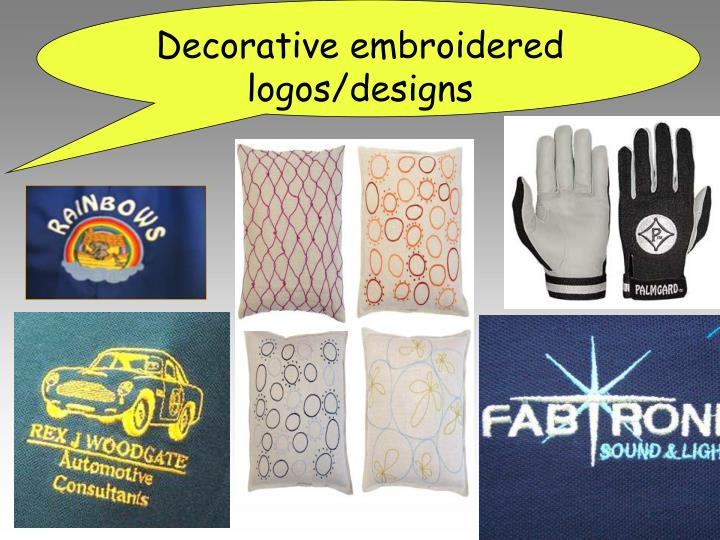 Decorative embroidered logos/designs