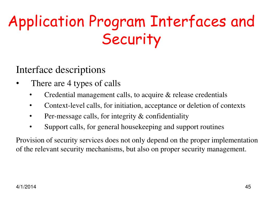 Application Program Interfaces and Security