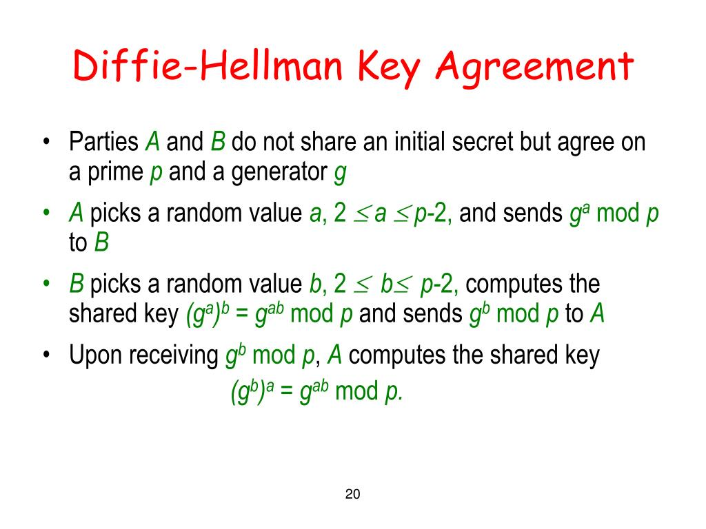 Diffie-Hellman Key Agreement