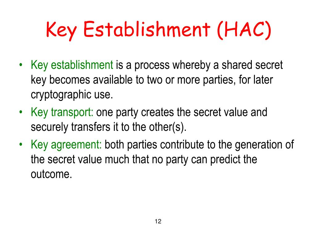 Key Establishment (HAC)