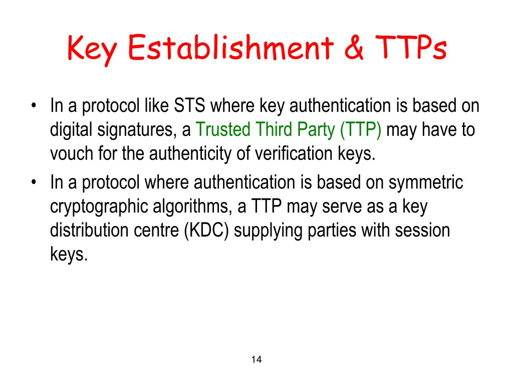 Key Establishment & TTPs