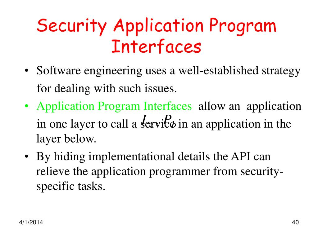 Security Application Program Interfaces