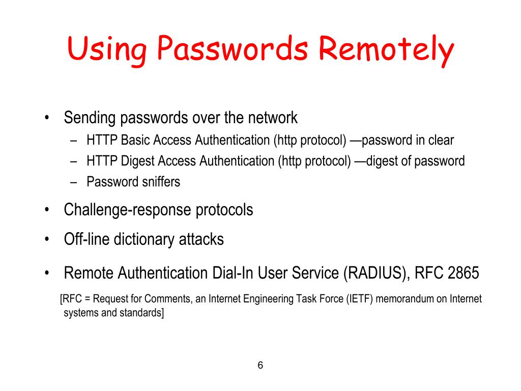 Using Passwords Remotely