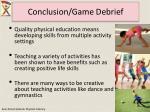 conclusion game debrief