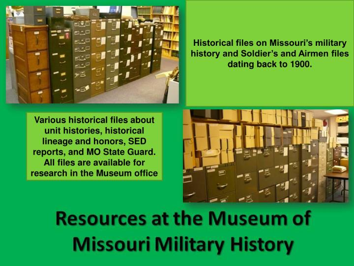 Historical files on Missouri's military