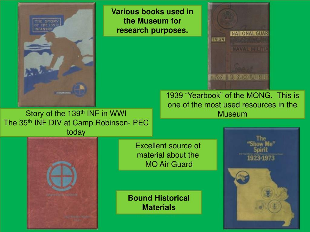 Various books used in the Museum for research purposes.
